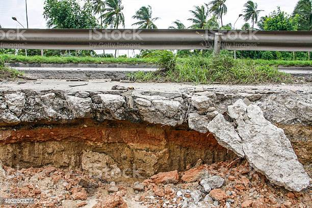 Photo of Cracked Concrete road