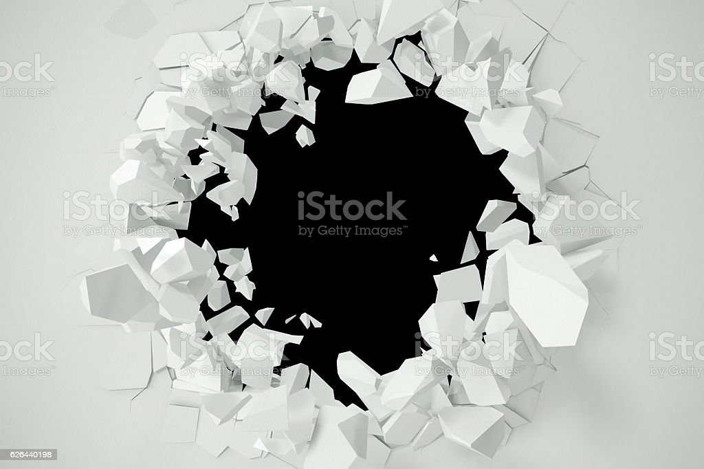 Cracked, destruction of a white wall, template for  content. 3d vector art illustration