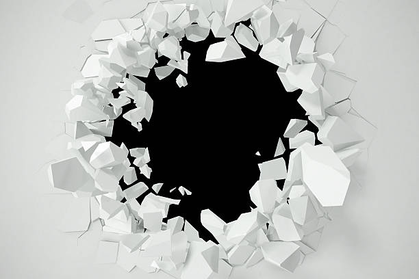 Cracked, destruction of a white wall, template for  content. 3d - foto de stock