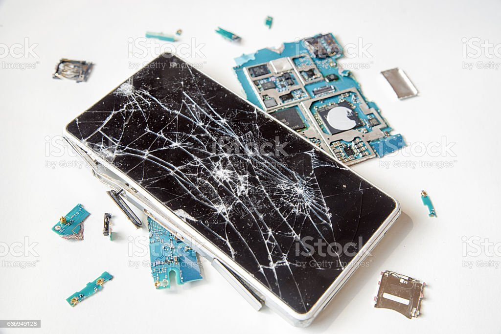 Cracked display on smartphone stock photo