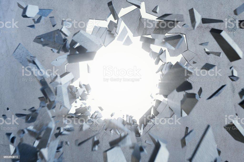 Cracked earth abstract background with volume light rays. Cracked concrete earth abstract background. 3D Rendering zbiór zdjęć royalty-free