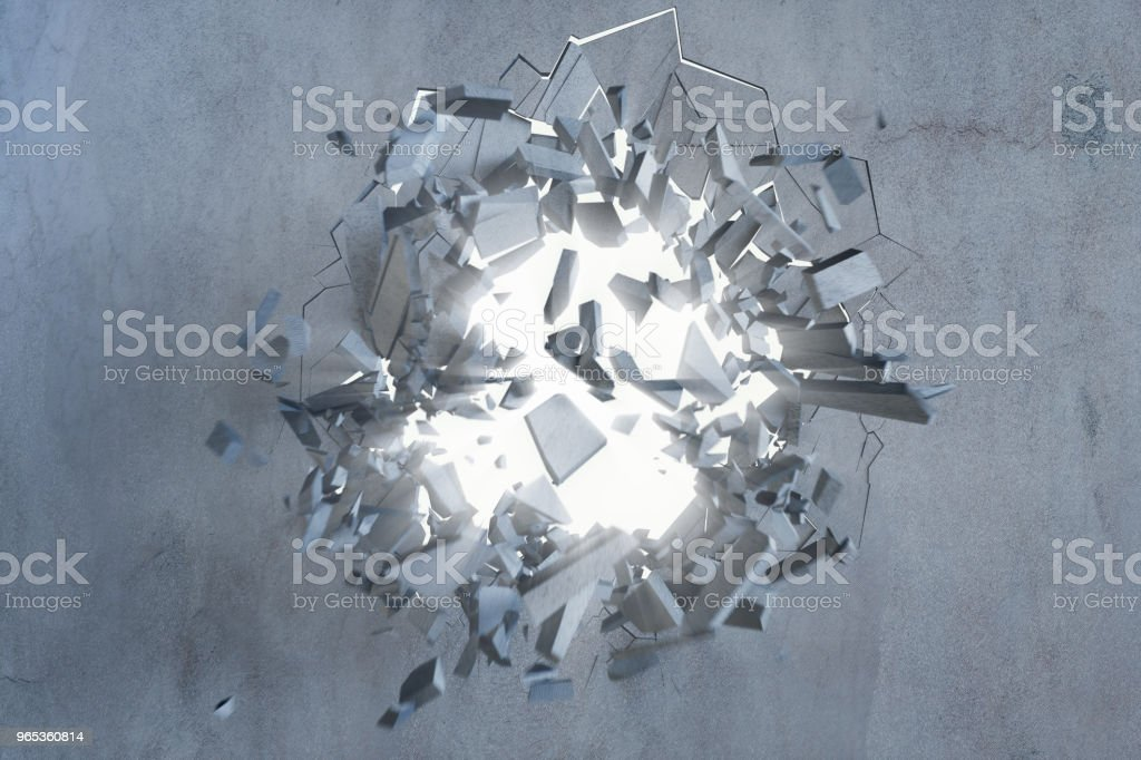 Cracked earth abstract background with volume light rays. Cracked concrete earth abstract background. 3D Rendering stock photo