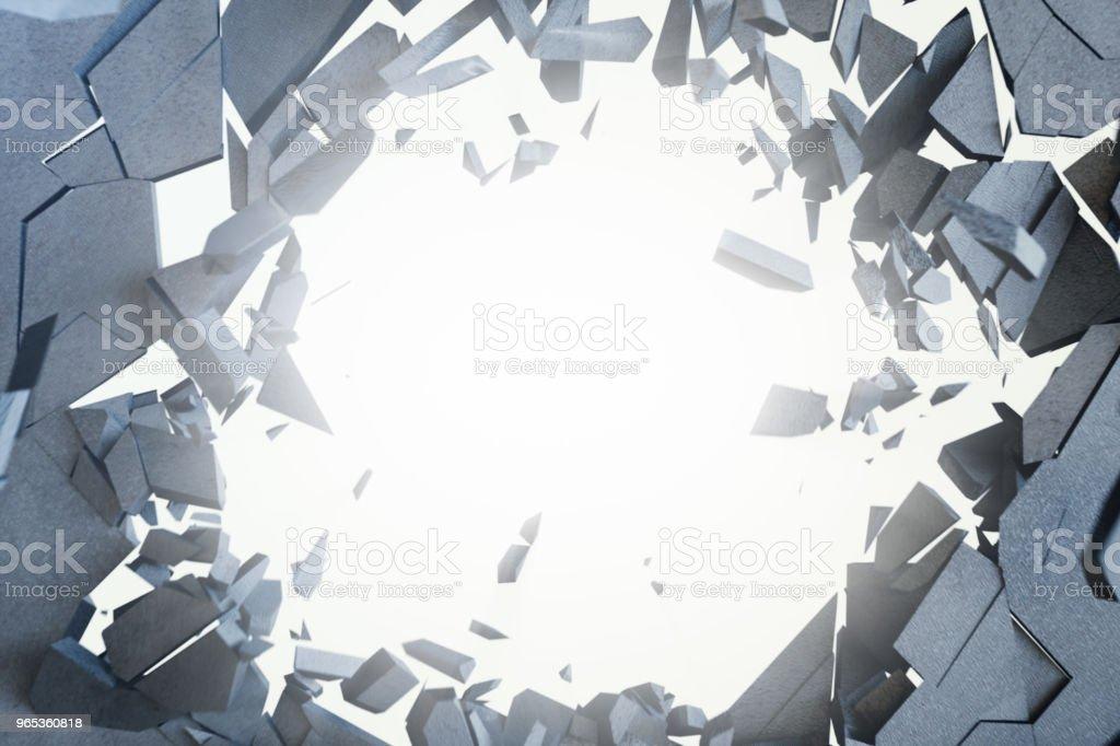 Craquage abstrait de terre avec des rayons de lumière de volume. Craquage abstrait concret de la terre. Rendu 3D - Photo de Abstrait libre de droits