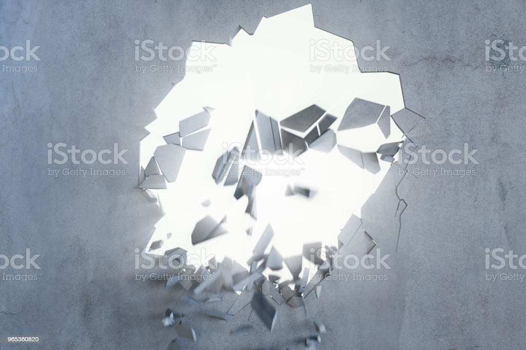 Cracked earth abstract background with volume light rays. Cracked concrete earth abstract background. 3D Rendering royalty-free stock photo