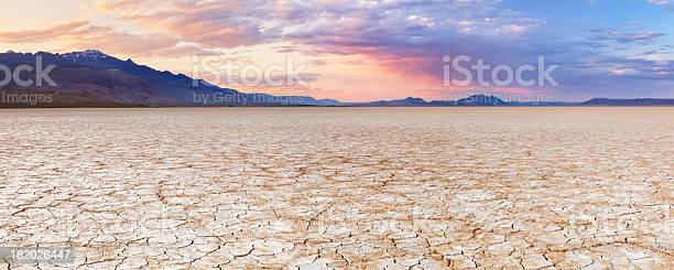 Photo of Cracked earth in remote Alvord Desert, Oregon, USA at sunset