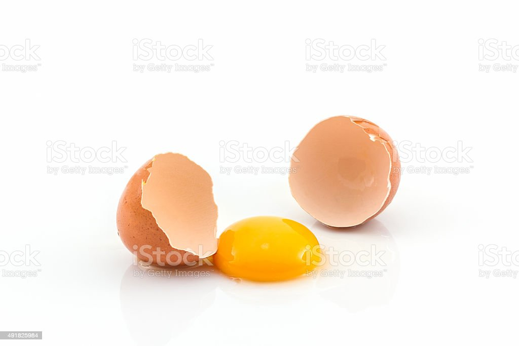 Cracked egg and shell. stock photo