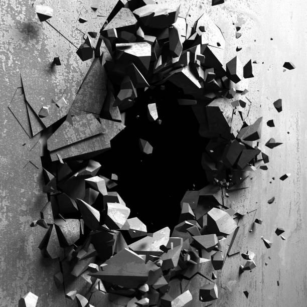 Explosion Betonwand Loch abstrakten Hintergrund geknackt – Foto