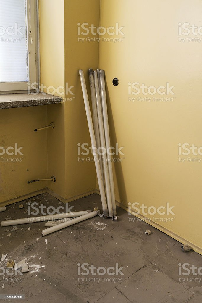 cracked fluorescent tubes stock photo