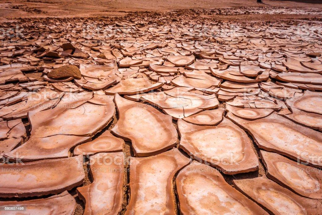 Cracked ground in Valle de la muerte desert, San Pedro de Atacama, Chile stock photo