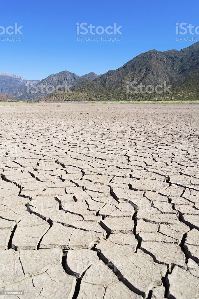 Cracked ground on a desert royalty-free stock photo