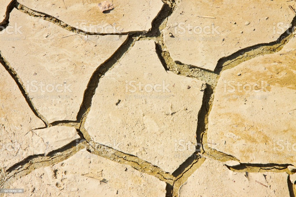 Cracked ground: the effects of drought - concept image stock photo