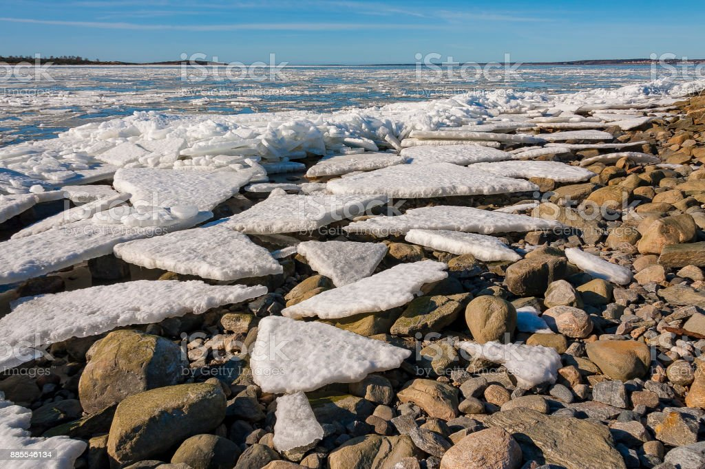 Cracked ice flakes on seashore stock photo