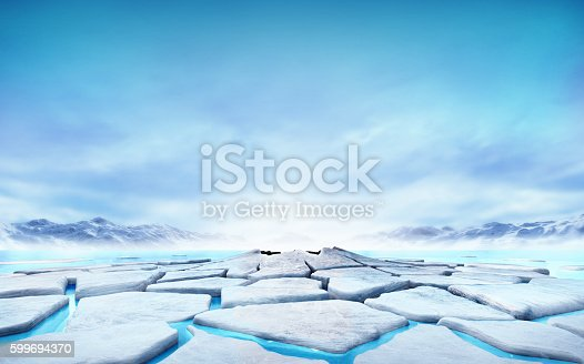 istock cracked ice floe floating on blue water mountain lake 599694370