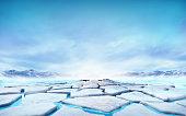 seasonal winter landscape digital illustration