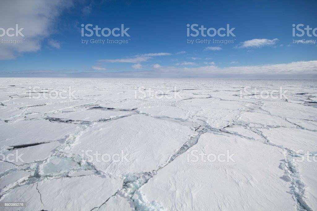 Cracked ice floe stock photo