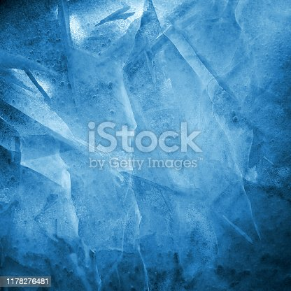 Cracked ice texture. Winter frosty weather concept