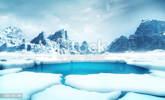 istock cracked iceberg pieces with big mountains behind background 1065182296