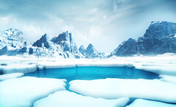 cracked iceberg pieces with big mountains behind background global warming and environmental conditions 3D illustration render ice floe stock pictures, royalty-free photos & images
