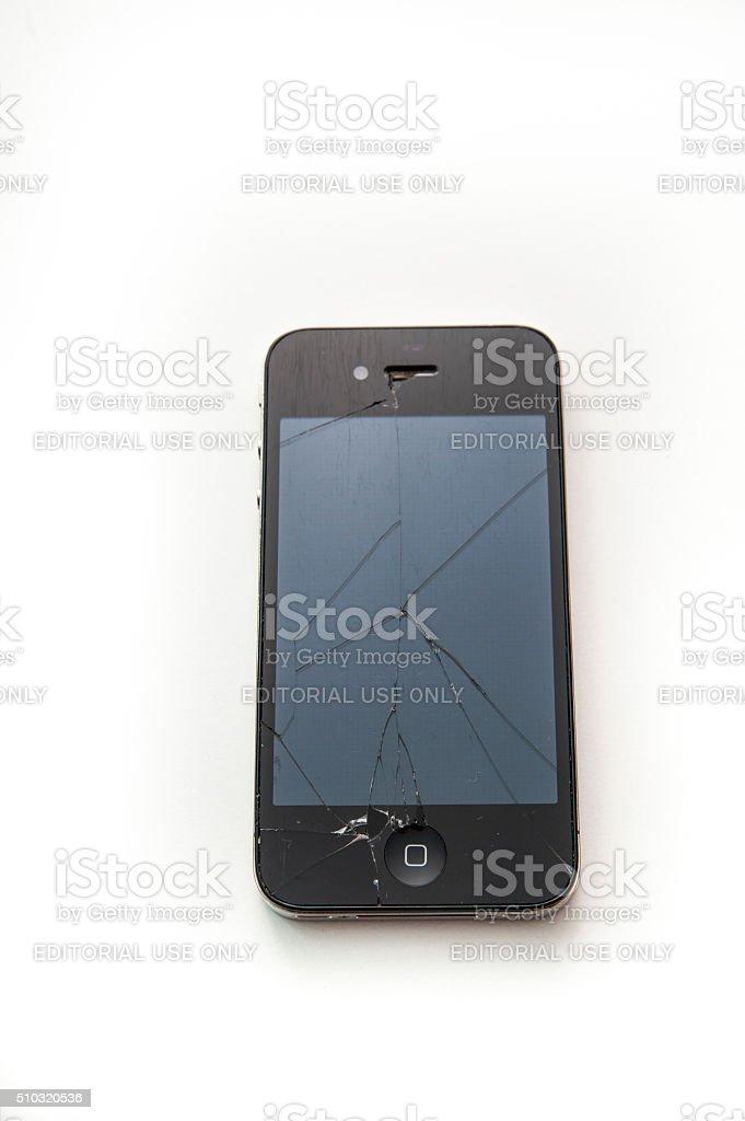 cracked iPhone 4 stock photo