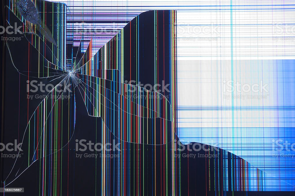 Cracked LCD Screen stock photo