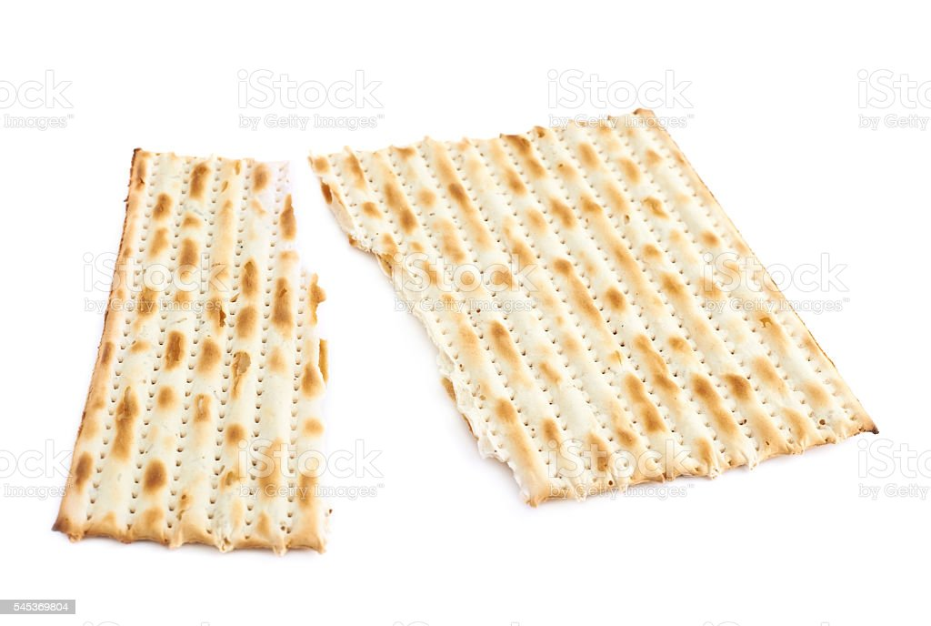 Cracked machine made matza flatbread stock photo