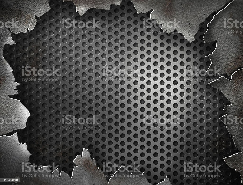 A cracked metal mesh design template royalty-free stock photo