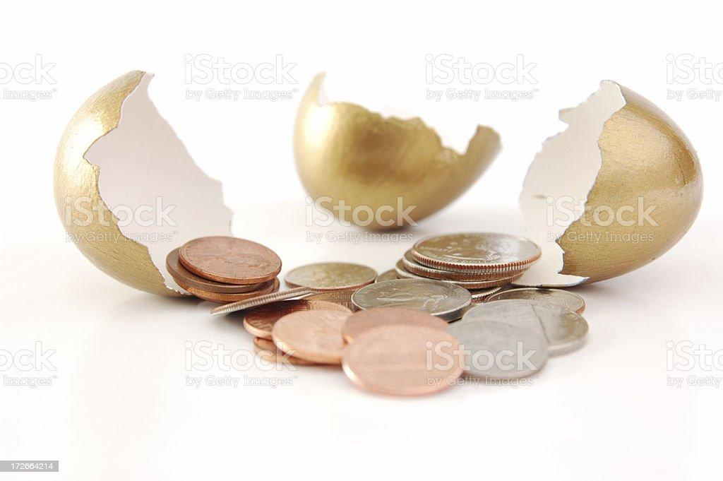 Cracked nest egg royalty-free stock photo