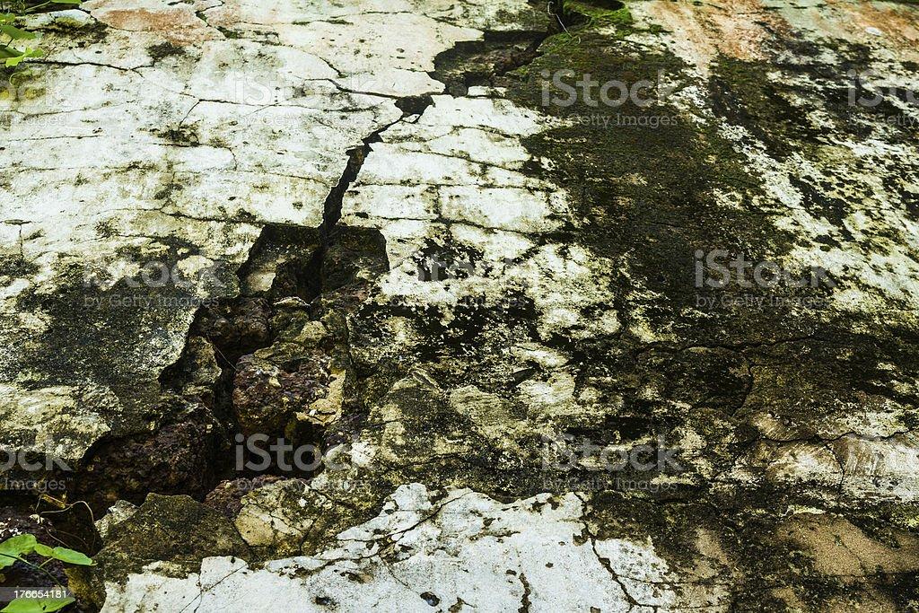 Agrietado vieja pared con moss foto de stock libre de derechos