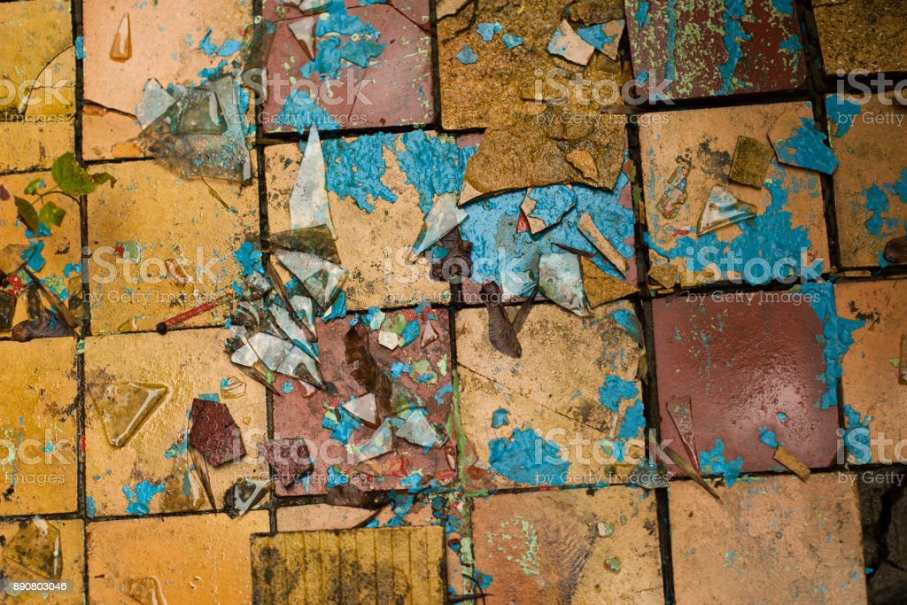 Cracked retro tiles floor background texture stock photo