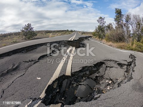 Cracked road from volcano activity in Volcano national park, Hawaii , USA