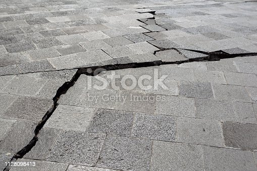 Shot on the cracked sidewalk after the earthquake.
