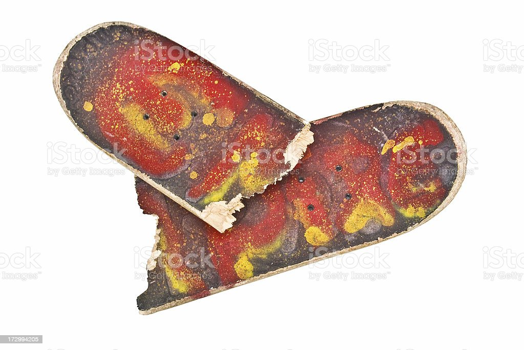 Cracked Skateboard stock photo