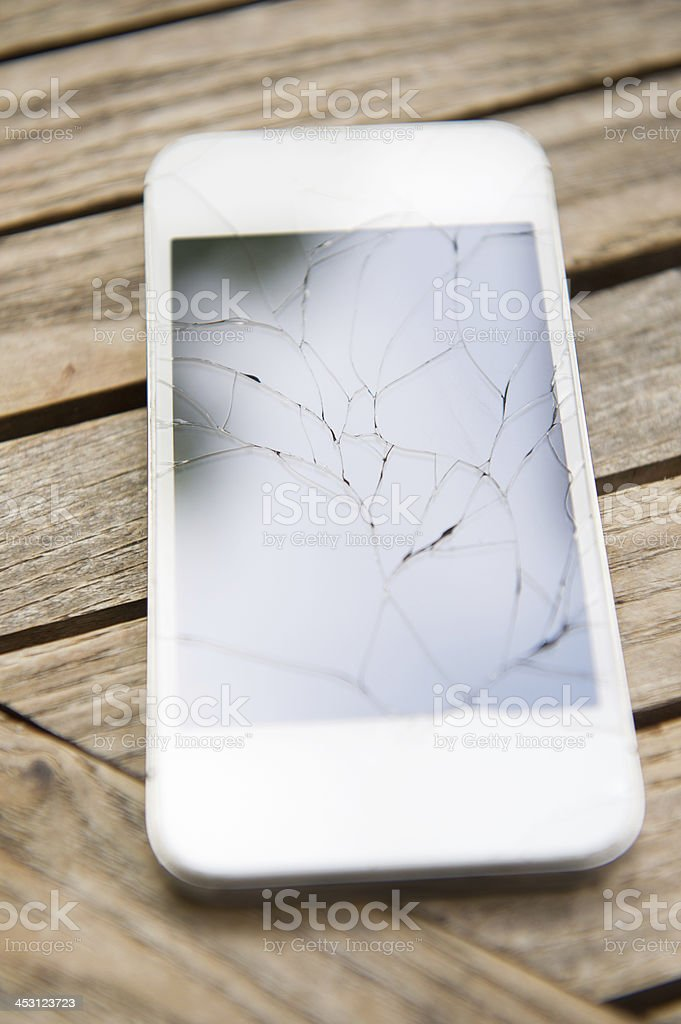 Cracked Smart Phone royalty-free stock photo