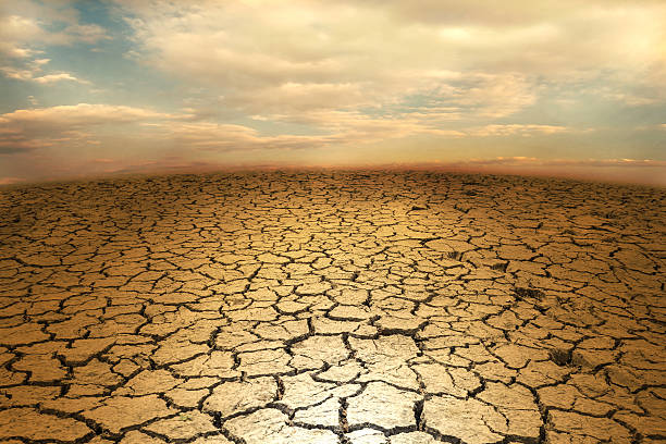 cracked soil earth desert terrain with sky - dry stock photos and pictures
