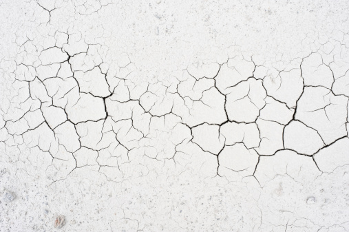 Detail of cracked clay soil texture.