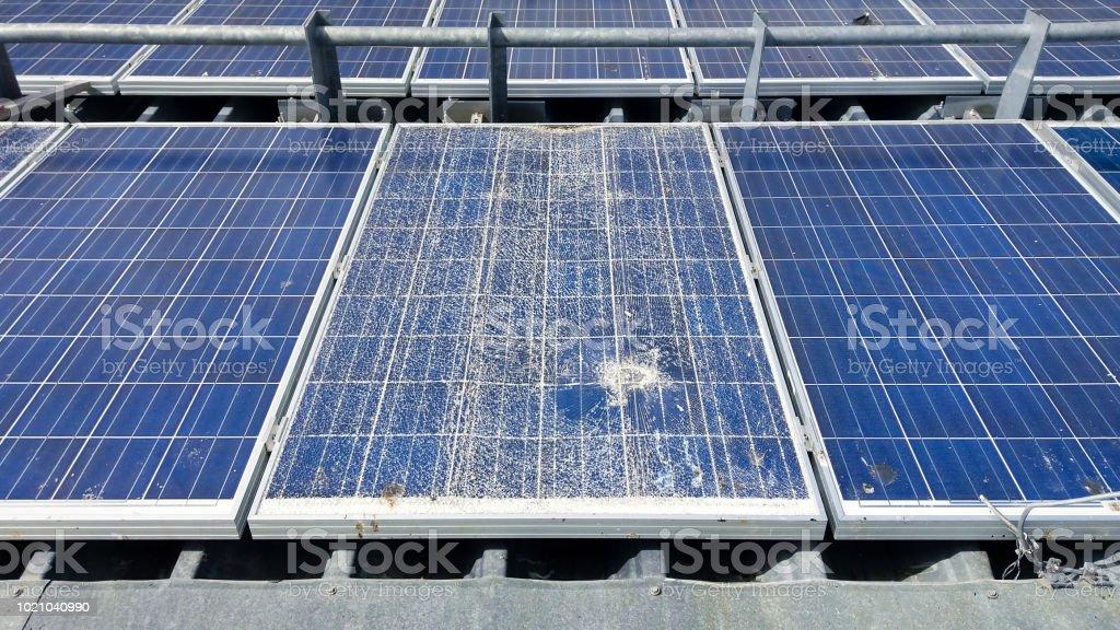 Cracked solar modules stock photo