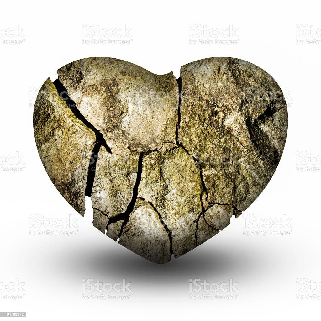 Cracked Stone Heart (Broken Heart) stock photo