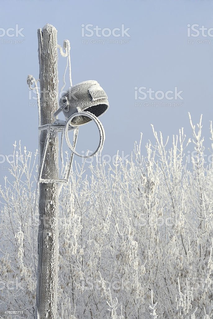 Cracked street light in winter royalty-free stock photo