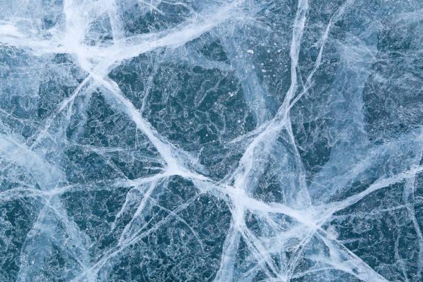 cracked texture of ice on Baikal lake, Winter stock photo