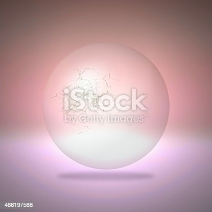 istock Cracked transparent sphere on red background 466197588