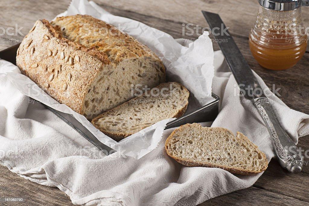 Cracked Wheat and Honey Sunflower Bread stock photo