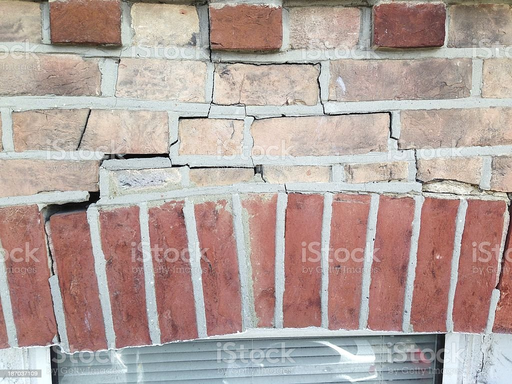 Cracked Window Lintel Arch stock photo