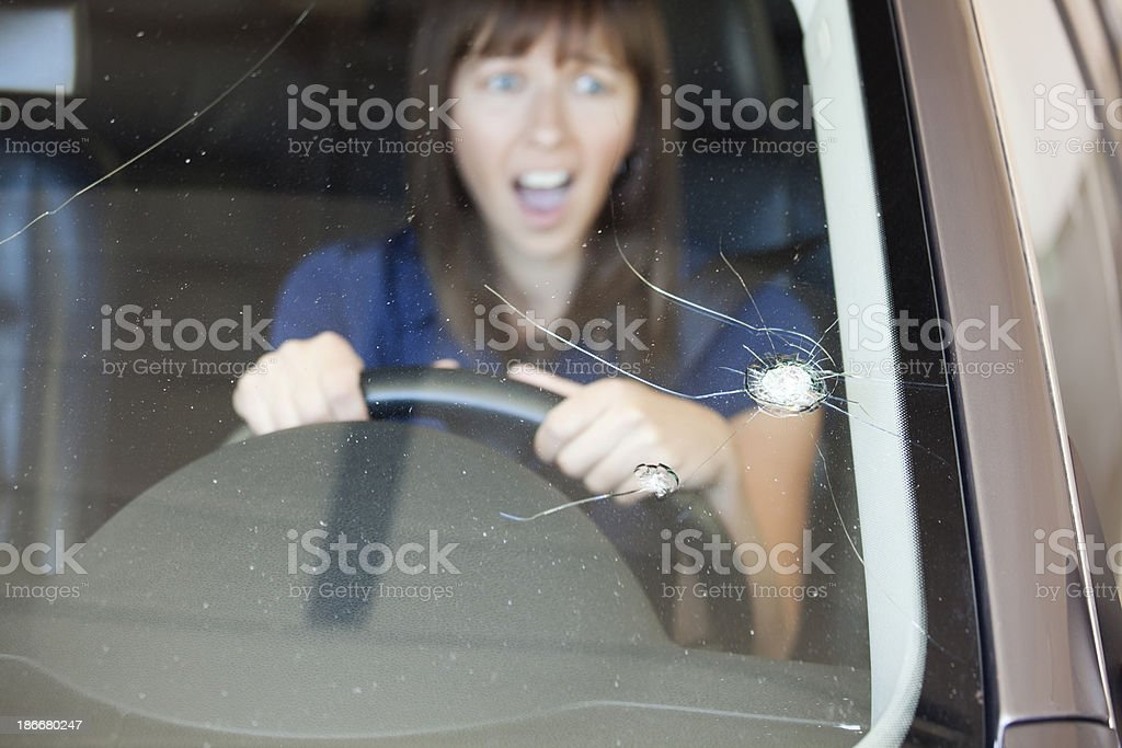 Cracked Windshield royalty-free stock photo