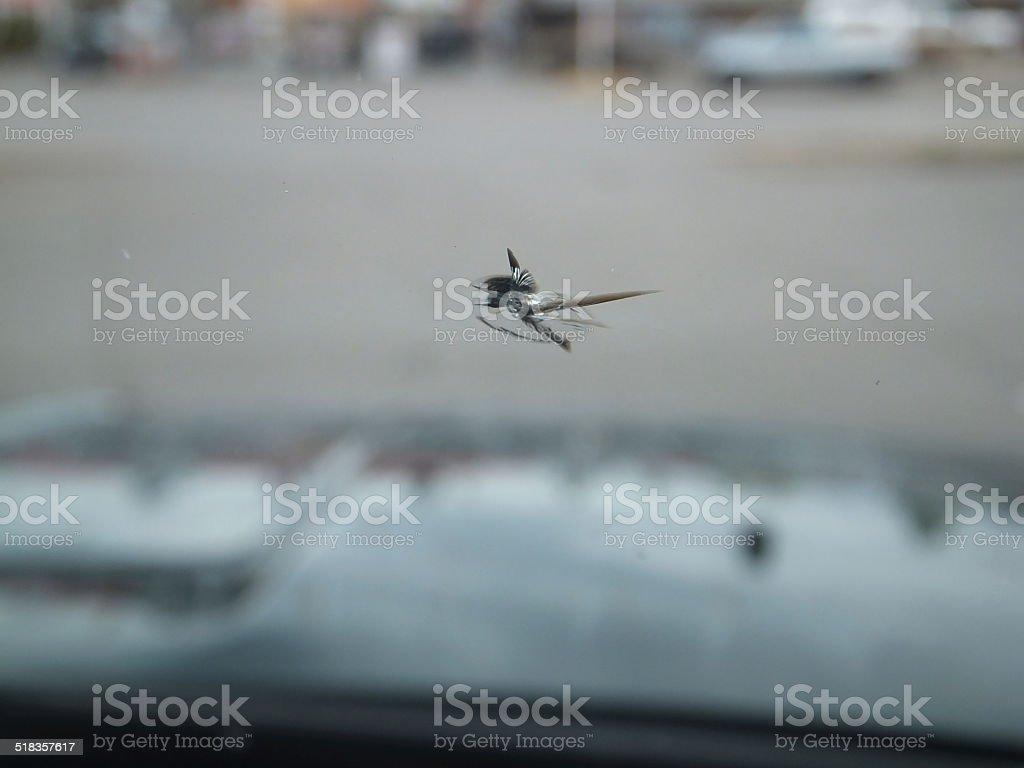 Cracked windshield stock photo