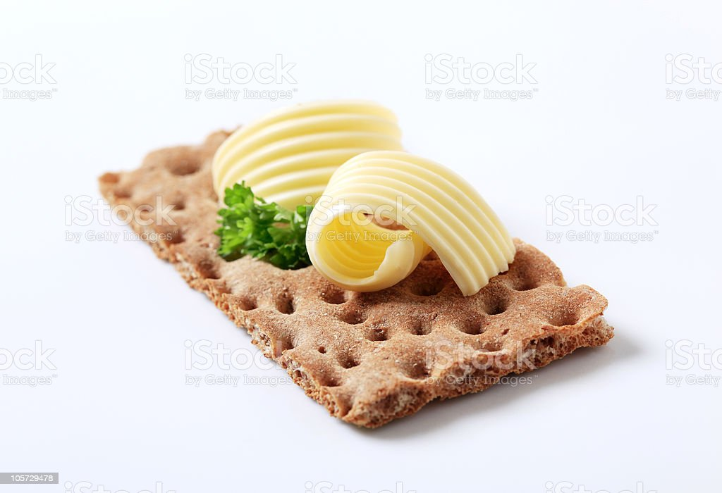 Cracker and butter royalty-free stock photo