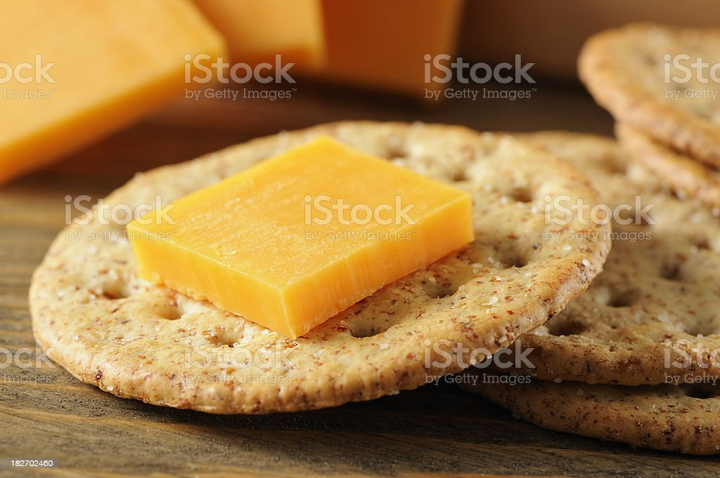 Crackers and cheese stock photo