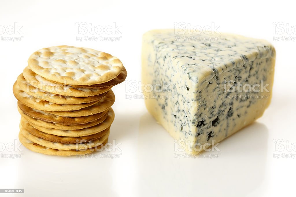 Crackers and Roquefort Wedge royalty-free stock photo
