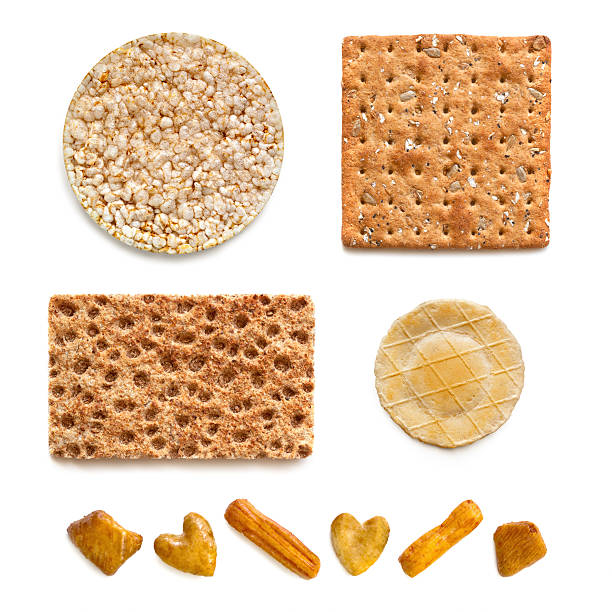 crackers collection over white - 克力架 個照片及圖片檔