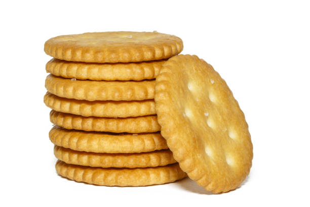 crackers isolated on a white background stock photo
