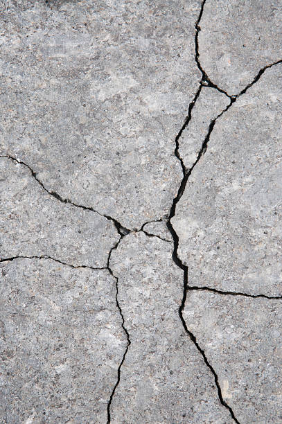 Cracks and Fissures Fault Lines in Gray Stone Background stock photo
